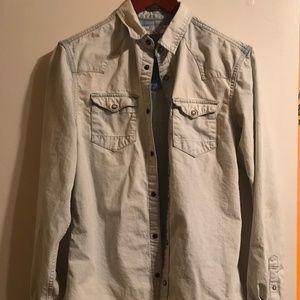 AllSaints Denim Button Up Shirt S